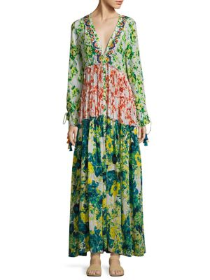 Cotrie Floral Pleated Silk Dress