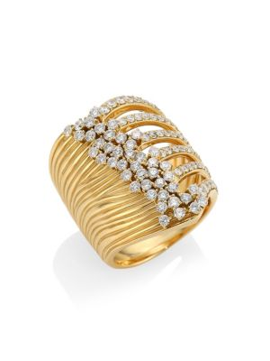Plisse 18K Yellow Gold & Diamond Ring from Saks Fifth Avenue