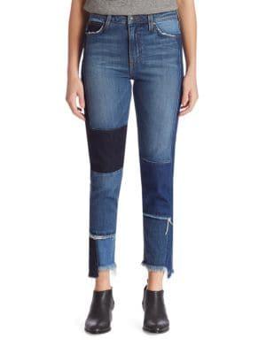 Debbie High-Rise Patchwork Step Hem Jeans