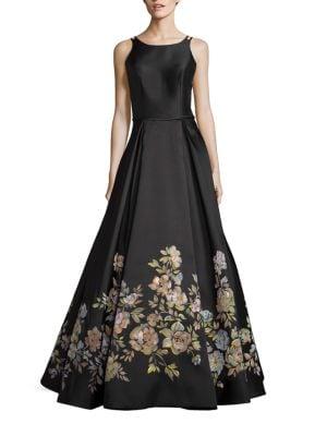 Floral-Print A-Line Gown