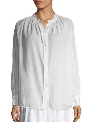 VINCE Solid Pleated Blouse