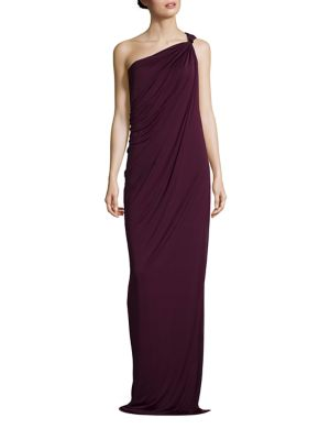 One-Shoulder Draped Jersey Gown