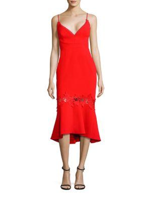 Crepe Lace Applique Midi Dress