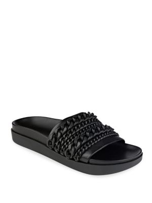 Shiloh Chain-Link Leather Pool Slide Sandals