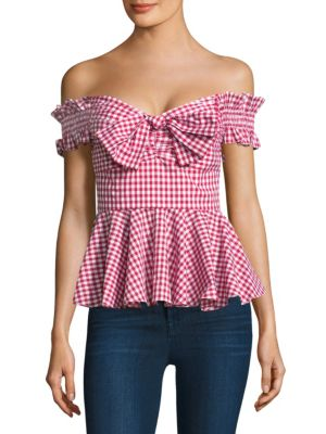 Artemis Gingham Cotton Bustier Top