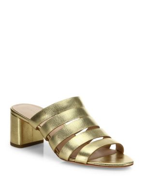 Finley Strappy Metallic Leather Mules