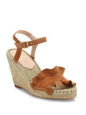 Gabby Ruffle Suede Espadrille Wedge Sandals