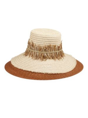 Mirasol Feather-Trim Sunhat