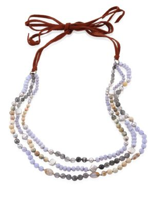 5-10MM Freshwater Pearl & Blue Lace Agate Multi-Layer Necklace
