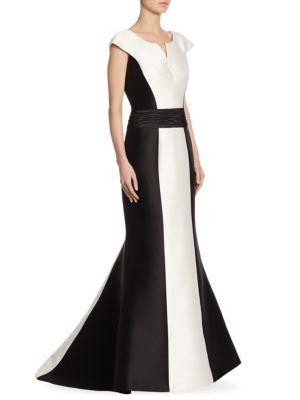 Colorblock Cap Sleeve Gown