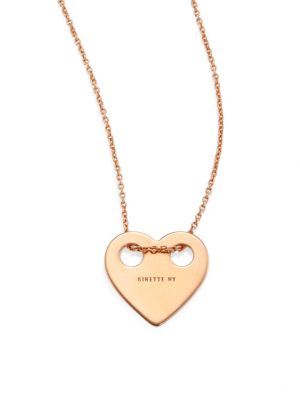 Minis On Chain Heart 18K Rose Gold Pendant Necklace