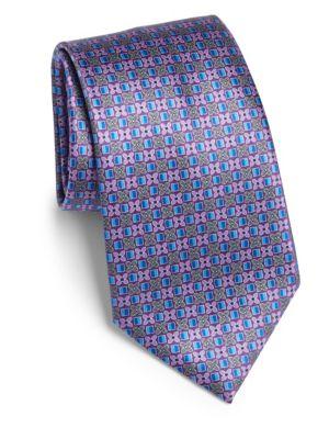 Floral Box Print Silk Tie