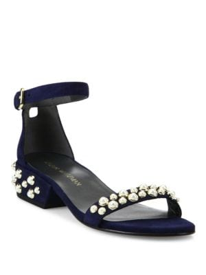 All Pearls Studded Suede Block Heel Sandals