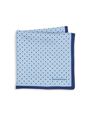 Geometrical Print Silk Pocket Square