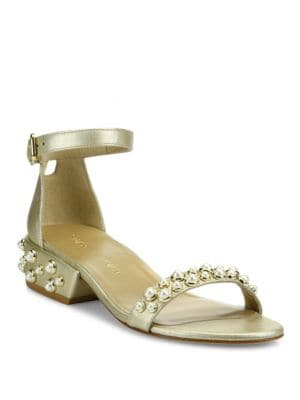 All Pearls Studded Metallic Leather Ankle Strap Sandals