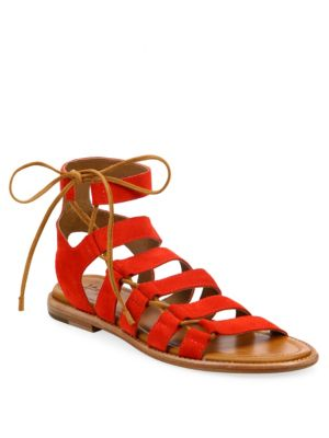 Blair Side Lace-Up Suede Sandals