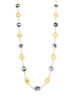 """Lunaria Black Mother-Of-Pearl & 18K Yellow Gold Long Necklace/36"""""""