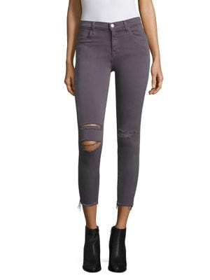 Alana Photoready Distressed Frayed Hem Cropped Skinny Jeans/Grey Mercy