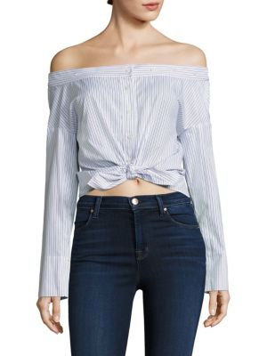 Reversible Striped Off-The-Shoulder Crop Top