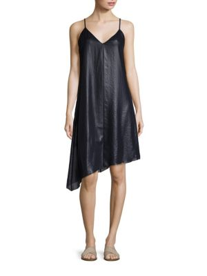 Lacquered Asymmetrical Hem Slip Dress