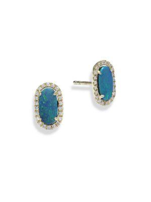 Diamond & Opal Stud Earrings