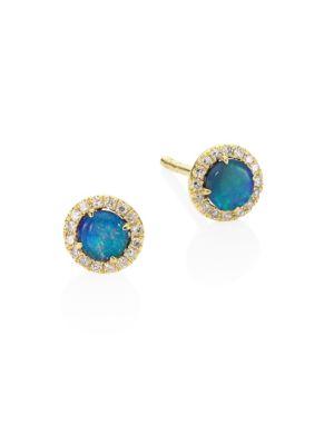 MEIRA T Diamond, Opal & 14K Yellow Gold Stud Earrings
