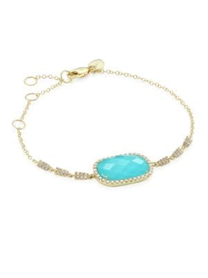 Diamond, Turquoise Doublet & 14K Yellow Gold Bracelet