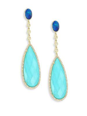 MEIRA T Diamond, Opal, Turquoise Doublet & 14K Yellow Gold Drop Earrings