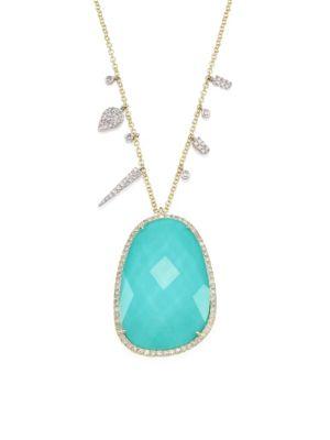 Diamond, Turquoise Doublet & 14K Yellow Gold Pendant Necklace