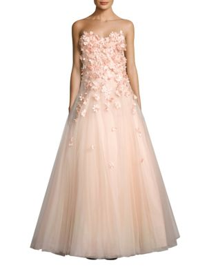 Strapless Floral Gown