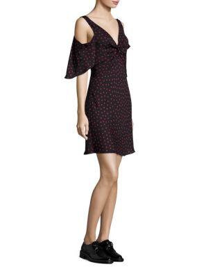 Polka Dots Cold Shoulder Dress