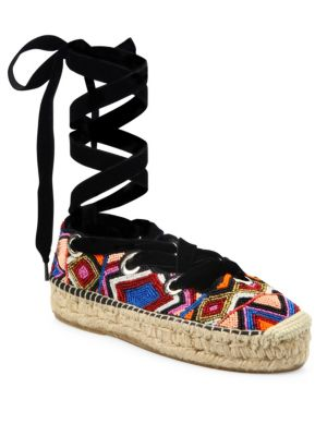 Xenos Beaded Lace-Up Espadrilles