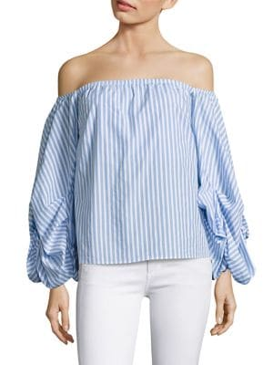 Hannah Cornflower Off-the-Shoulder Striped Blouse by Petersyn