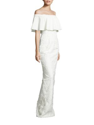 Venna Embroidered Off-The-Shoulder Gown
