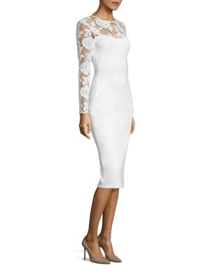 Aymme Embroidered Neoprene Sheath Dress