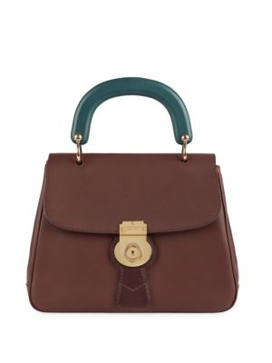 Two-Tone Leather Top-Handle Satchel