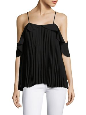 Emmy Pleated Cold-Shoulder Top by Delfi Collective