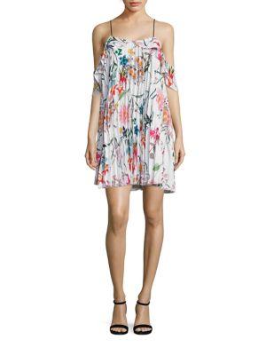 Elisa Floral Cold Shoulder Ruffle Dress by Delfi Collective