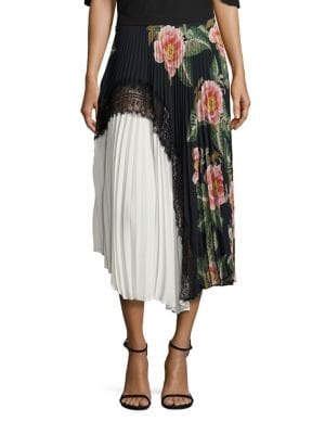 Clara Floral Lace Pleated Midi Skirt by Delfi Collective