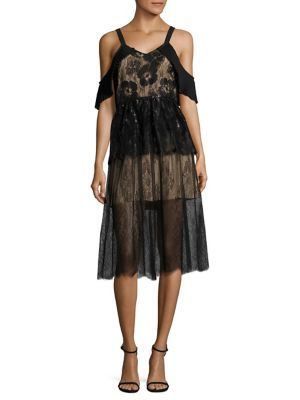 Angelina Lace Cold Shoulder Midi Dress by Delfi Collective