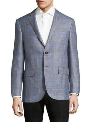 Plaid Regular-Fit Wool Blazer