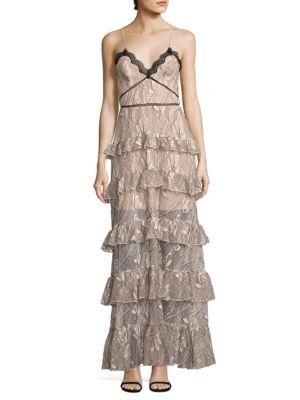 Iris Lace Ruffled Gown