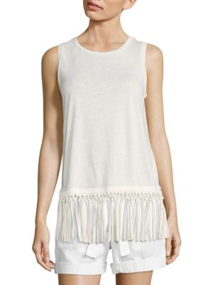Fringe-Trim Jersey Tank Top by Polo Ralph Lauren