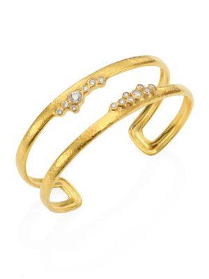 Pointelle Diamond & 22K Yellow Gold Open Cuff