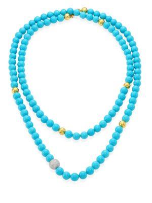 """Amulet Hue Diamond, Turquoise & 22-24K Yellow Gold Strand Necklace/50"""""""