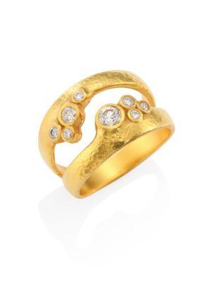 Pointelle Diamond & 22-24K Yellow Gold Dual Ring