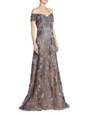 Floral Off-the-Shoulder Lace Gown