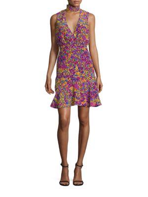 Fleur-Print Silk Choker Dress