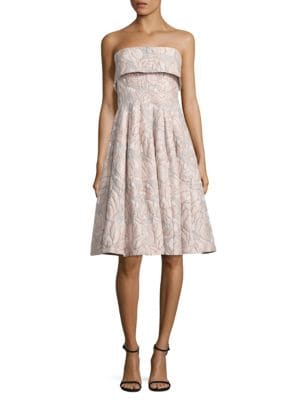 Strapless Floral Jacquard Dress