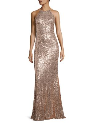 Sequined Racerback Gown